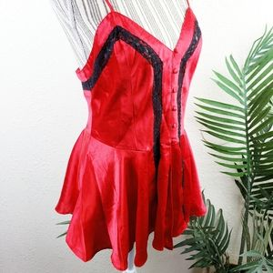 Vintage Victoria's Secret Gold Label Red Slip Cami